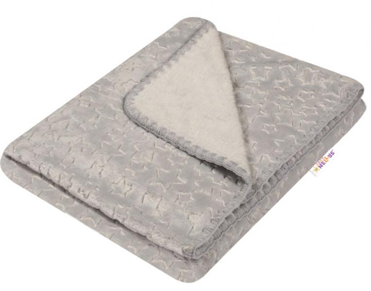 Baby Nellys Dětská luxusní velurová deka LITTLE STAR 80x90 cm, šedá