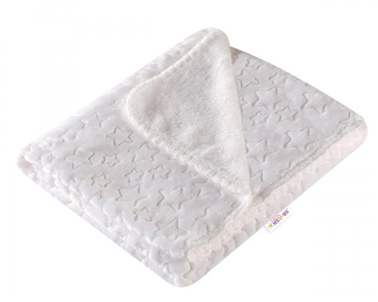 Baby Nellys Dětská luxusní velurová deka LITTLE STAR 80x90 cm, bílá