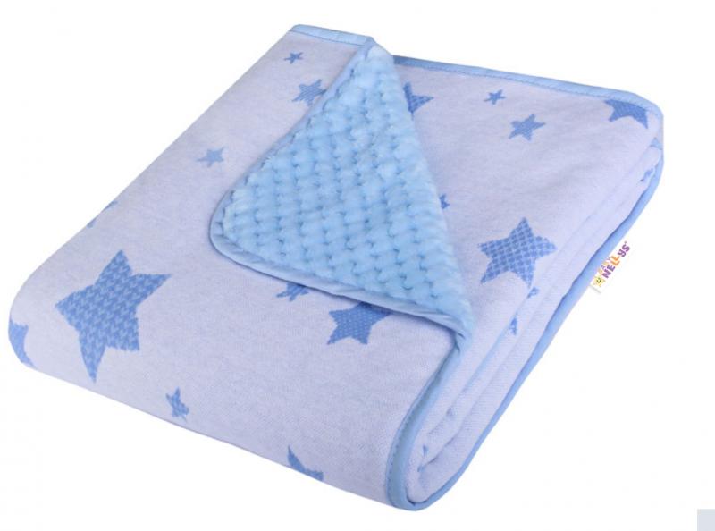 Baby Nellys Dětská Dual deka s minky, hvězdičky - modrá
