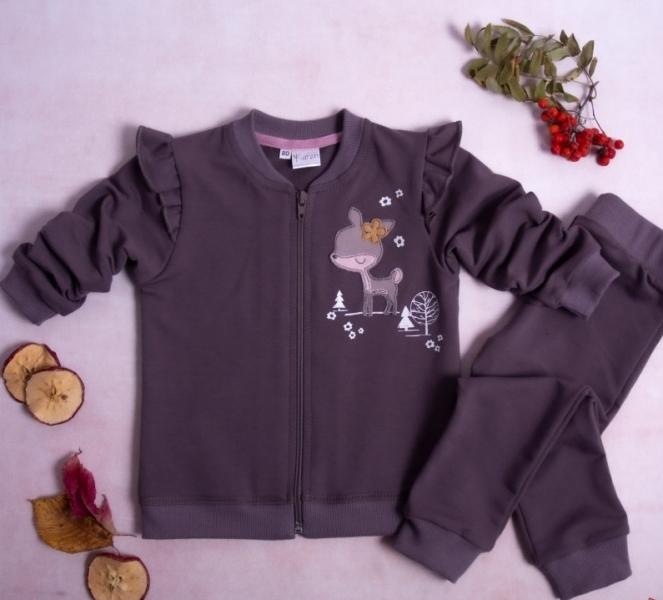 K-Baby Tepláková souprava Srnka, 2 dílná, fialovo-hnědá, vel.80, Velikost: 80 (9-12m)
