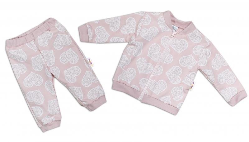BABY NELLYS Tepláková souprava LOVE, pudrově růžová, vel. 74