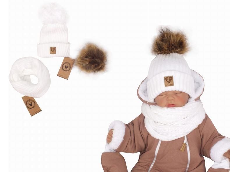 Z&Z Zimní čepice 3v1 + komínek, bílá