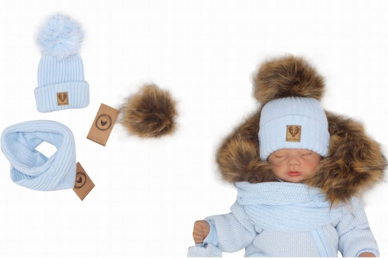 Z&Z Zimní čepice 3v1 + komínek, sv. modrá