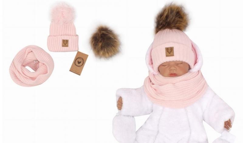 Z&Z Zimní čepice 3v1 + komínek, sv. růžová