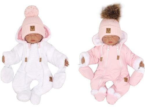 Z&Z Zimní oboustranná kombinéza s kapucí + rukavičky, růžovo-bílá, vel. 74