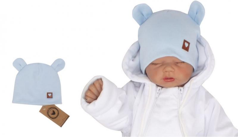 Z&Z Dvouvrstvá bavlněná čepička LOVE TEDDY, sv. modrá