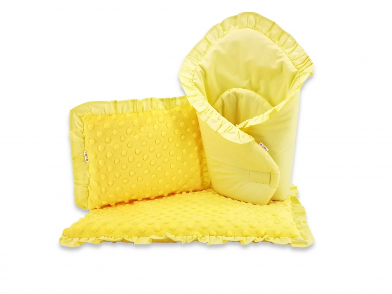 Baby Nellys Luxusní sada pro panenku, zavinovovačka, peřinka a polštářek s minky, žlutá