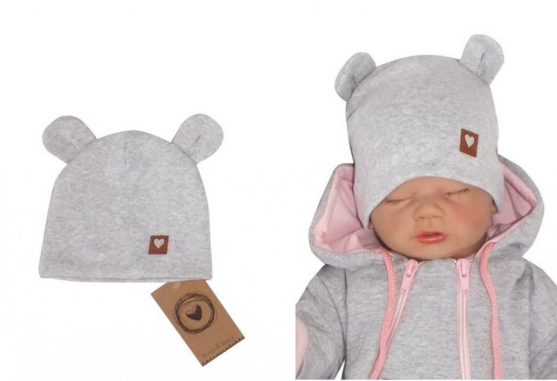Z&Z Dvouvrstvá bavlněná čepička LOVE TEDDY, šedá