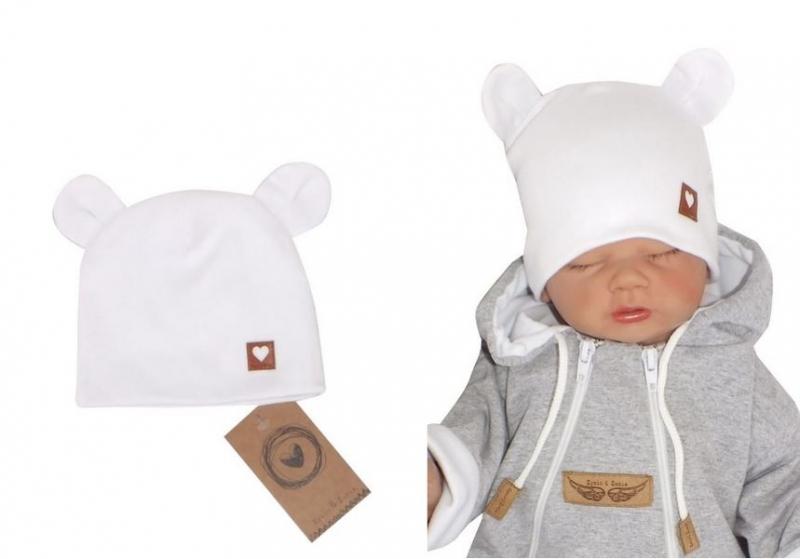 Z&Z Dvouvrstvá bavlněná čepička LOVE TEDDY, bílá