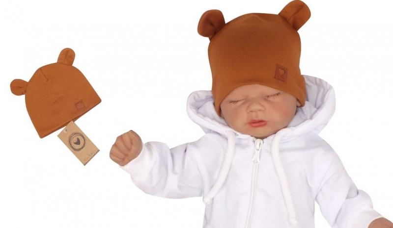 Z&Z Dvouvrstvá bavlněná čepička LOVE TEDDY, medová hořčice, 42/44cm