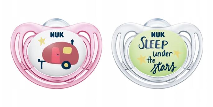 NUK Symetrický dudlík Night&Day, svítící - Karavan, růžová/bílá, 0-6m +