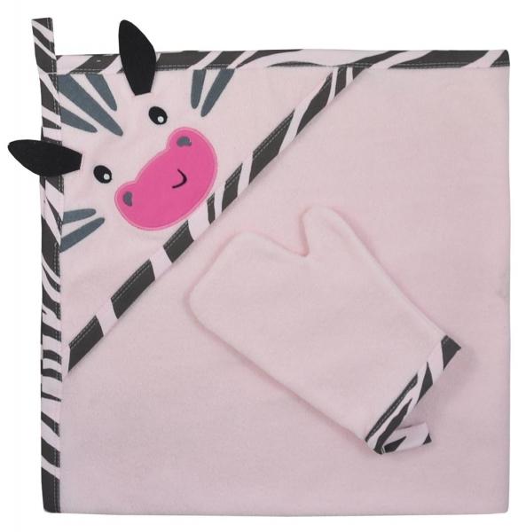 Belisima Dětská osuška s kapucí + žínka Happy Zebra, růžová