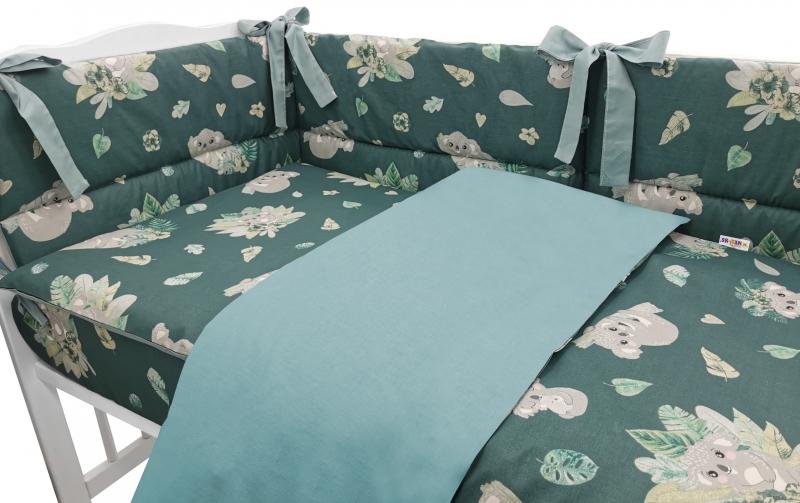 BABY NELLYS 3-dílná sada Mantinel s povlečením, Tropical Koala, zelená, 135x100 cm, Velikost: 135x100