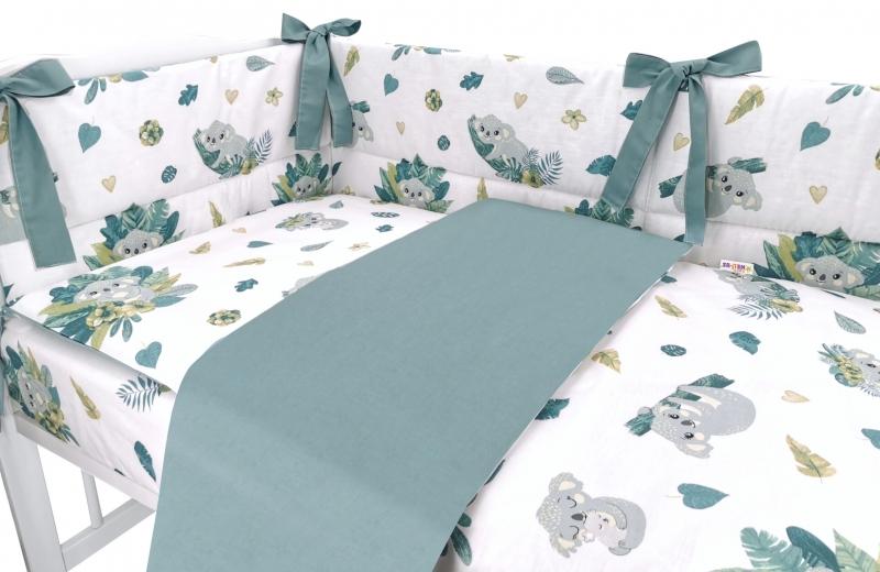 BABY NELLYS 3-dílná sada Mantinel s povlečením, Tropical Koala, zelená, bílá