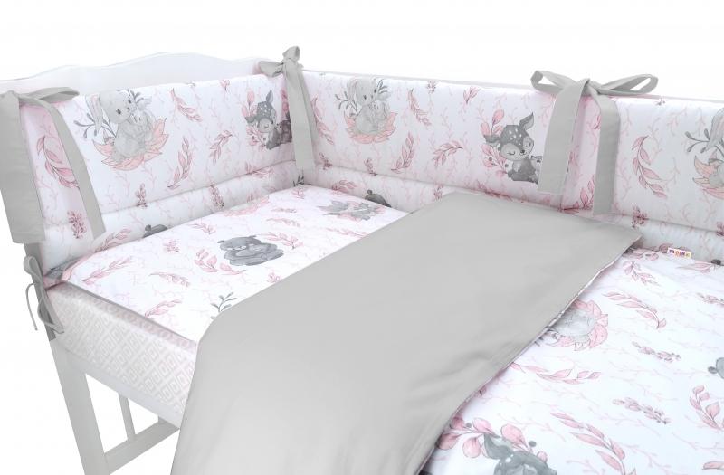 BABY NELLYS 3-dílná sada Mantinel s povlečením, LULU, růžová,šedá, 135x100 cm