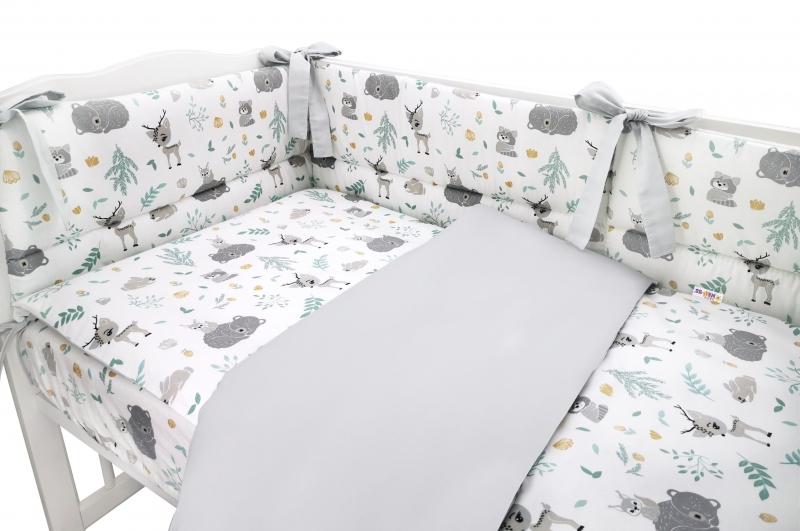 BABY NELLYS 3-dílná sada Mantinel s povlečením, New Forest Friends, šedá, 135x100 cm