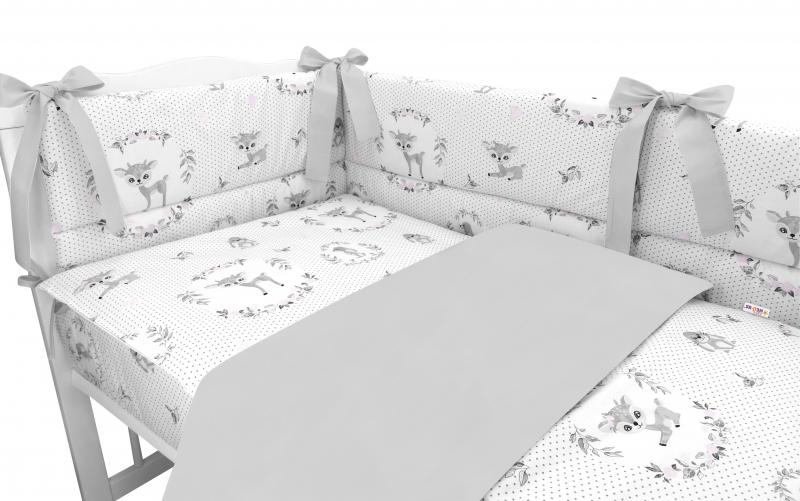 BABY NELLYS 3-dílná sada Mantinel s povlečením, Koloušek, šedá, růžová, 135x100 cm