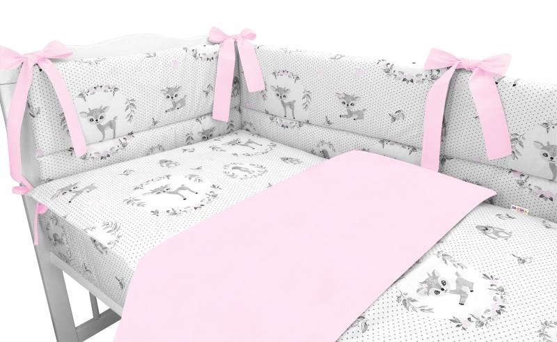 BABY NELLYS 3-dílná sada Mantinel s povlečením, Koloušek, růžová, 135x100 cm