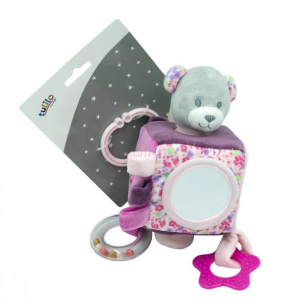 Tulilo Závěsná edukační plyšová kostka se zrcátkem - Medvídek, růžový