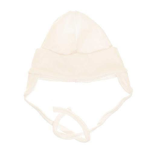 MBaby Bavlněná čepička s oušky na zavazování - bílá, vel. 68, Velikost: 68 (4-6m)