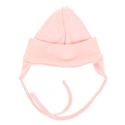 MBaby Bavlněná čepička s oušky na zavazování - růžová, vel. 68, Velikost: 68 (4-6m)