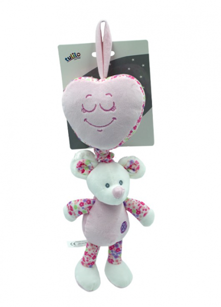 Tulilo Závěsná plyšová hračka s melodií Myška - růžová