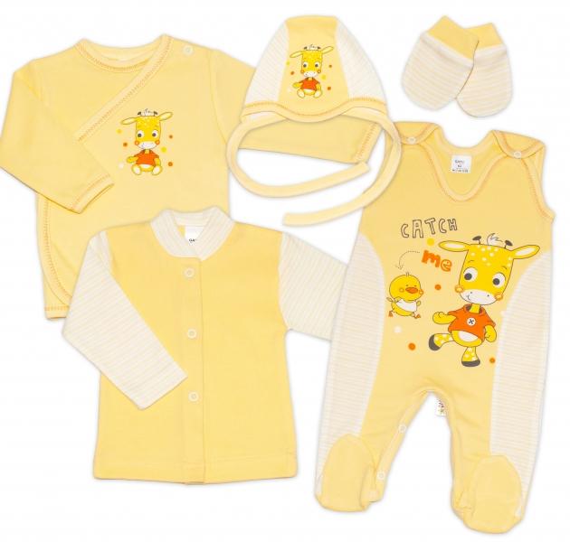 Gama 5-dílná soupravička do porodnice - žlutá, různé obrázky, vel. 62
