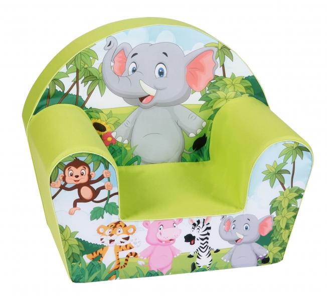 Delsit Dětské křesílko, pohovka - Slon v safari, zelená