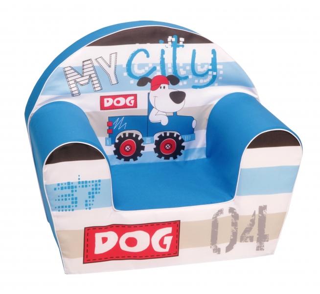 Delsit Dětské křesílko, pohovka - MY DOG CITY, modrá