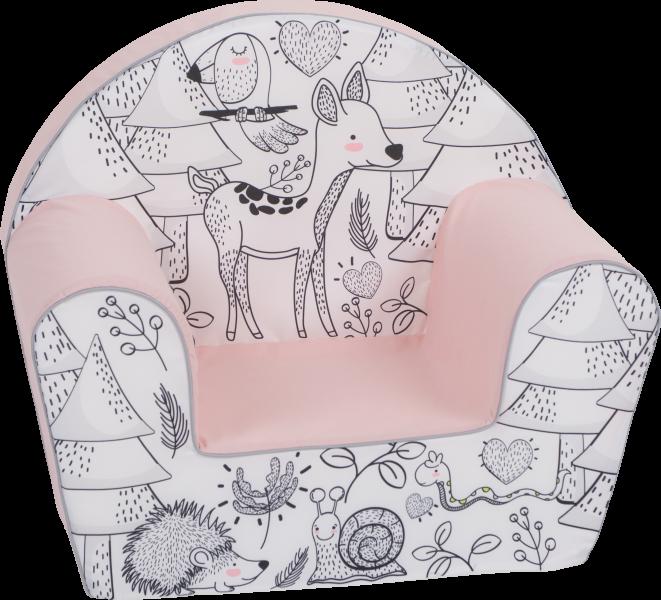 Delsit Dětské křesílko, pohovka - Srnka v lese, sv. růžová