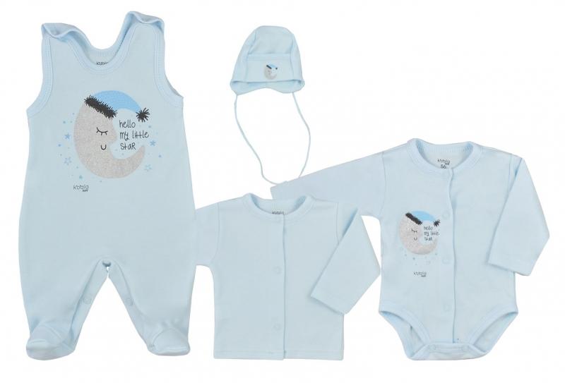 Koala Baby 4-dílná bavlněná soupravička do porodnice Moon - modrá, vel. 68, Velikost: 68 (4-6m)