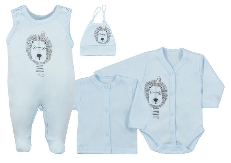 Koala Baby 4-dílná bavlněná soupravička do porodnice Simba - modrá