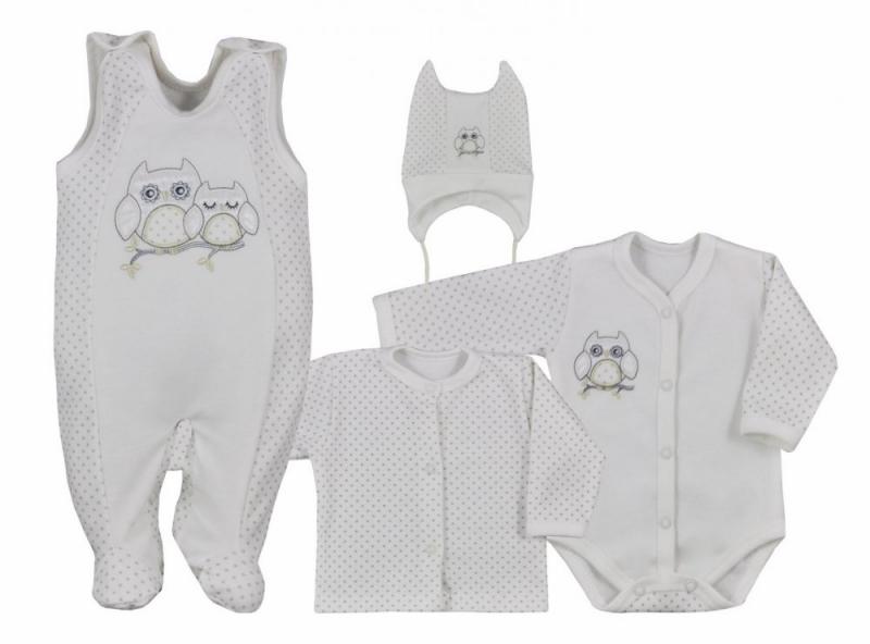 Koala Baby 4-dílná bavlněná soupravička do porodnice Sovička - ecru, vel. 68, Velikost: 68 (4-6m)