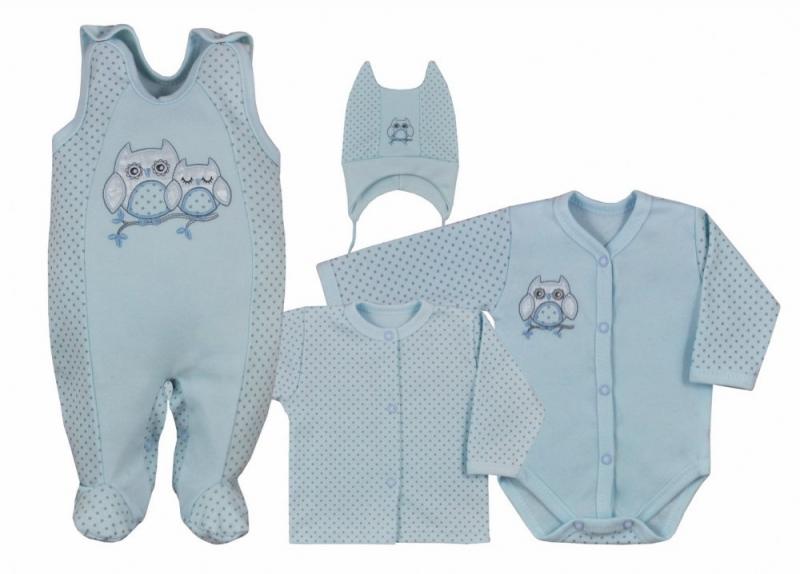 Koala Baby 4 dílná bavlněná soupravička do porodnice Sovička - modrá, vel. 68, Velikost: 68 (4-6m)