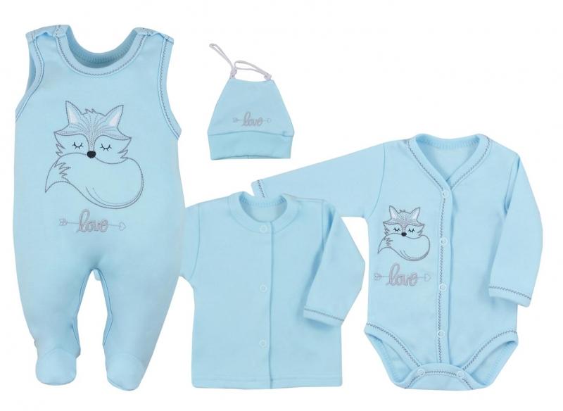 Koala Baby 4 dílná bavlněná soupravička do porodnice Fox Love - modrá