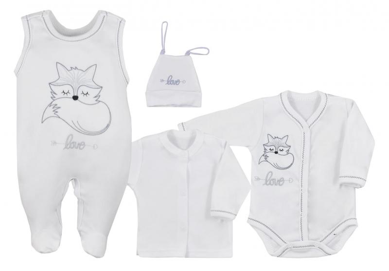 Koala Baby 4 dílná bavlněná soupravička do porodnice Fox Love - bílá, vel. 62