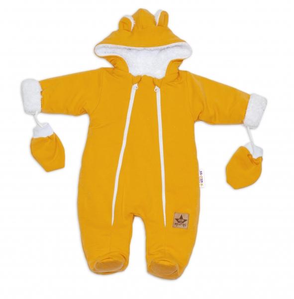 Baby Nellys Zimní kombinézka s kapucí a oušky + rukavičky, hořčicová, Velikost: 56 (1-2m)