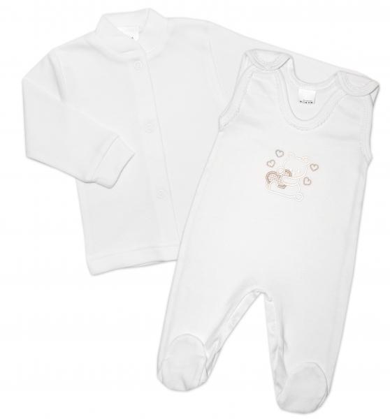 Gama 2-dílná soupravička košilka + dupačky Medvídek se srdíčkem - bílá, vel. 56