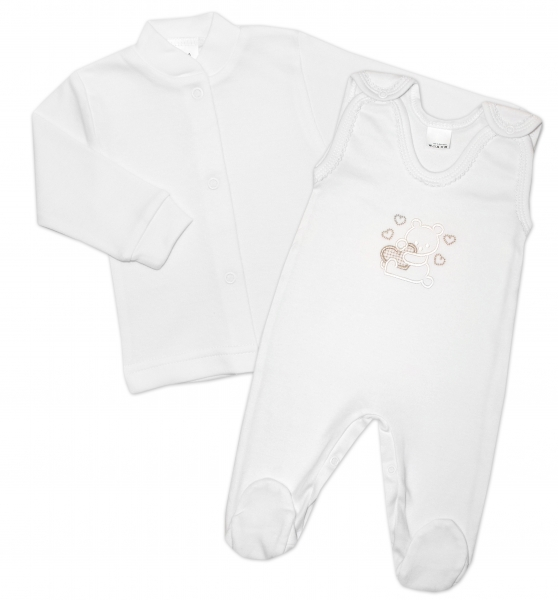 Gama 2-dílná soupravička košilka + dupačky Medvídek se srdíčkem - bílá, vel. 62
