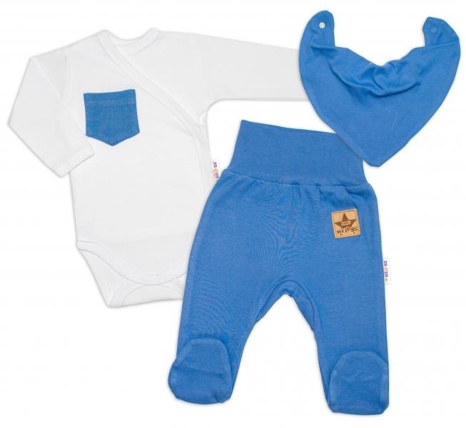 Baby Nellys 3-dílná sada Body dl. rukáv s kapsou, šátek, polodupačky, modrá, bílá, vel. 62