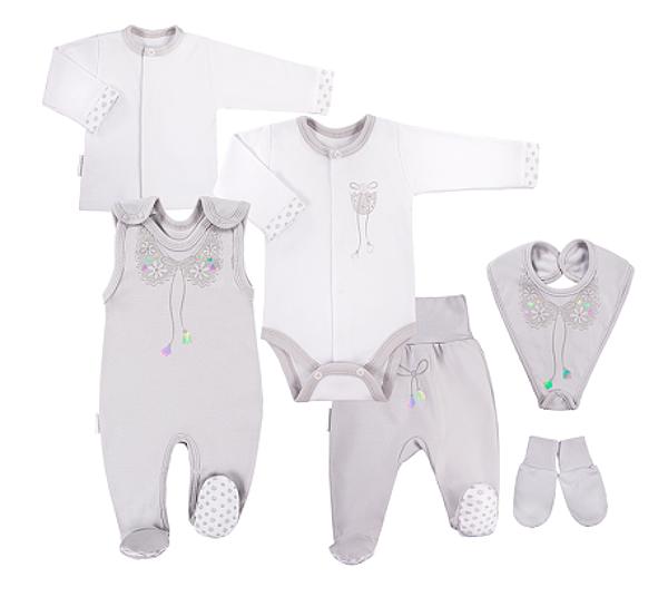 EEVI 6-ti dílná kojenecká soupravička do porodnice Mašlička - šedá
