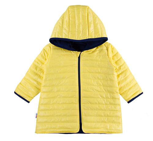 EEVI Dětská přechodová, prošívaná bunda s kapucí - žlutá
