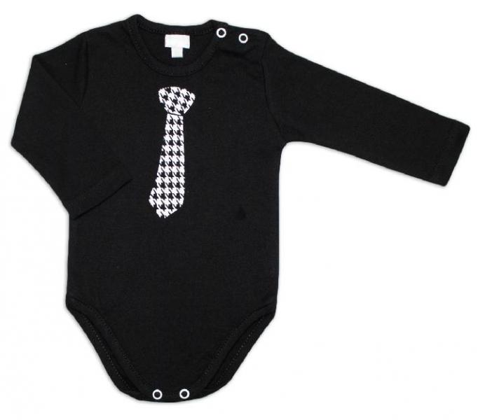 G-baby Dětské body dlouhý rukáv, Kravata - černé, vel. 92