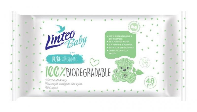 Vlhčené ubrousky LINTEO BABY 100% Biodegradable, 48 ks v balení