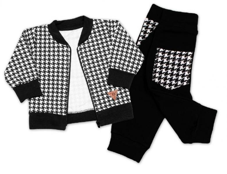 G-baby Stylová bavlněná tepláková souprava Kárko - černo,bílá, vel. 80, Velikost: 80 (9-12m)