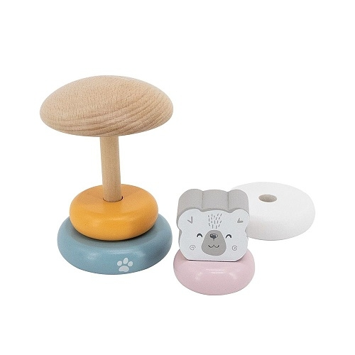 Viga Edukační dřevená mini věž - Medvěd