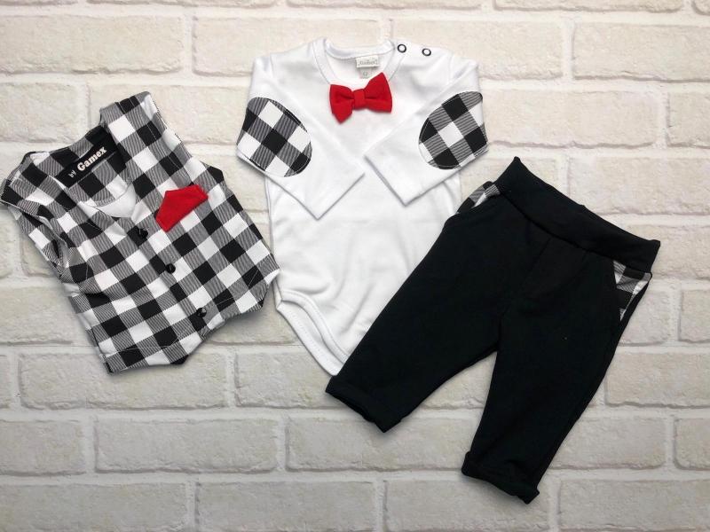 G-baby 3-dílný Bavlněný komplet Elegant Boy, bílo/černé kárko, vel. 80, Velikost: 80 (9-12m)