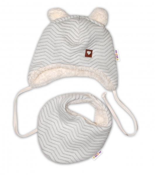 Baby Nellys Zimní kožíšková čepice s šátkem LOVE, šedý vzor, vel. 46/48 cm, Velikost: 46/48 čepičky obvod