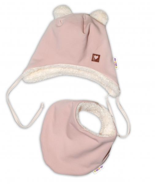 Baby Nellys Zimní kožíšková čepice s šátkem LOVE, pudrově růžová, vel. 46/48 cm