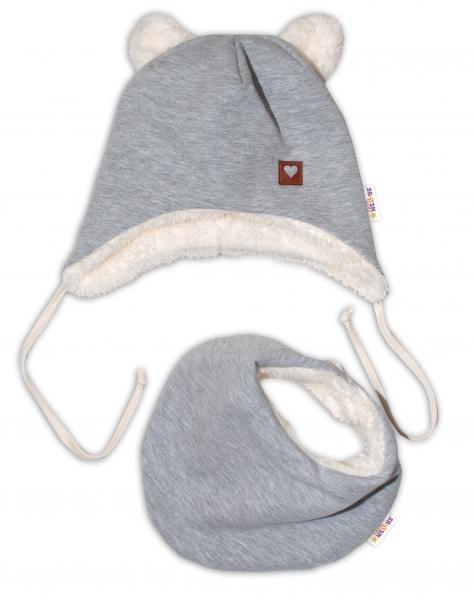 Baby Nellys Zimní kožíšková čepice s šátkem LOVE, šedá, vel 46/48 cm